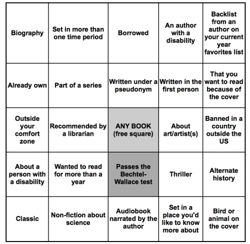 Kym's Summer Book Bingo Card 2017