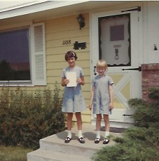 Kym and diane last day of school 1968 kym 3rd grade di K